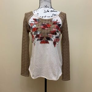 We The Free Crochet Sleeves Print Top Sz Small